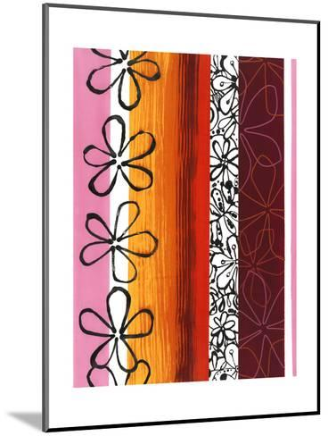 Floral Designs on Stripes--Mounted Art Print