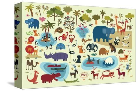 Zoo Animals--Stretched Canvas Print