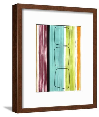 Rounded Squares on Stripes--Framed Art Print