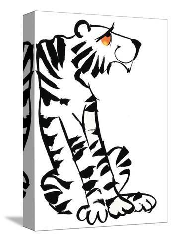 Retro Black and White Tiger--Stretched Canvas Print