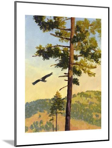 Eagle Flying by a Tree--Mounted Art Print