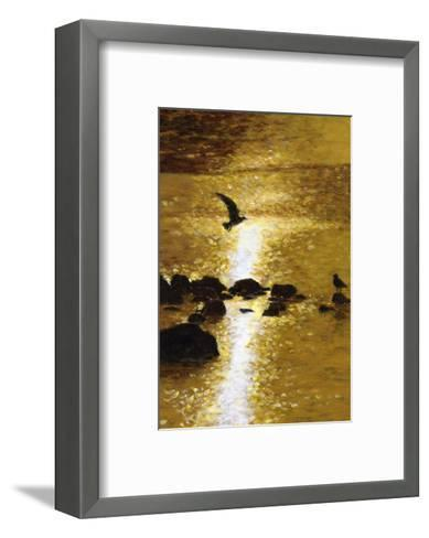 Seagull Flying over Water--Framed Art Print