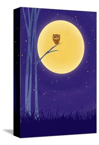Owl on Branch with Full Moon--Stretched Canvas Print