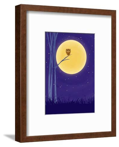 Owl on Branch with Full Moon--Framed Art Print