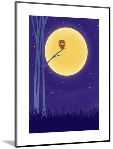 Owl on Branch with Full Moon--Mounted Art Print