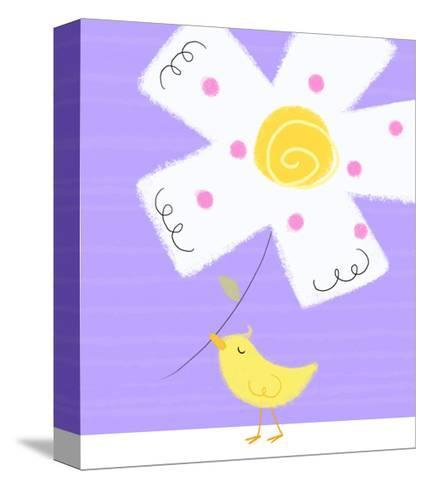Yellow Bird with White Flower--Stretched Canvas Print