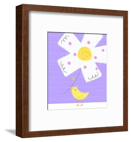 Yellow Bird with White Flower--Framed Art Print