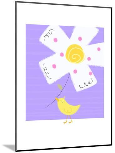 Yellow Bird with White Flower--Mounted Art Print