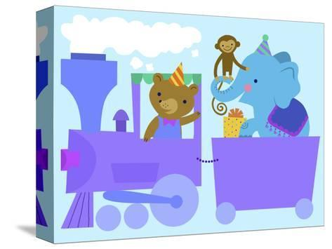 Birthday Train with Animals--Stretched Canvas Print