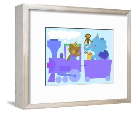 Birthday Train with Animals--Framed Art Print
