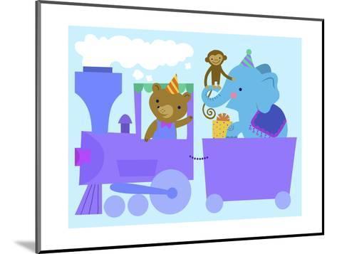 Birthday Train with Animals--Mounted Art Print