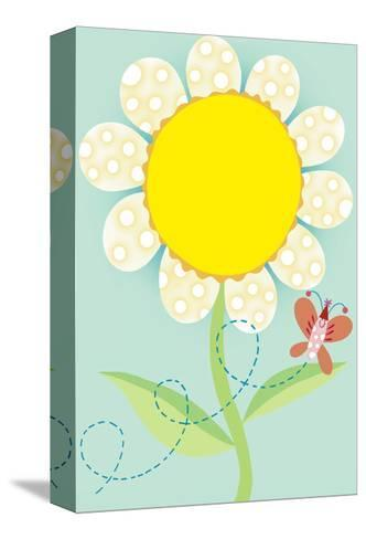 Polka Dot Flower with Butterfly--Stretched Canvas Print