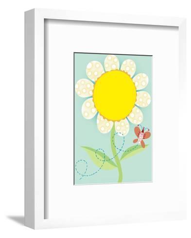 Polka Dot Flower with Butterfly--Framed Art Print