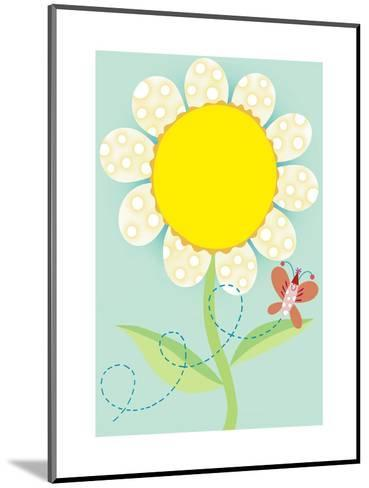 Polka Dot Flower with Butterfly--Mounted Art Print