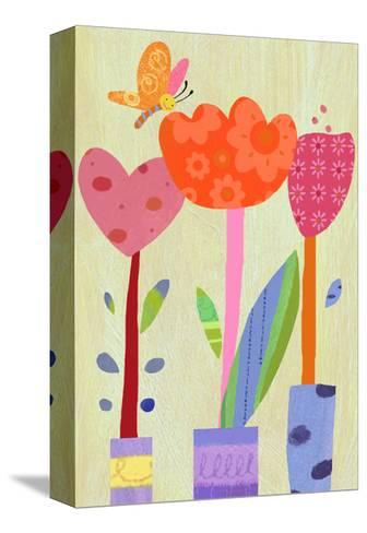 Patterned Tulips with Butterfly--Stretched Canvas Print