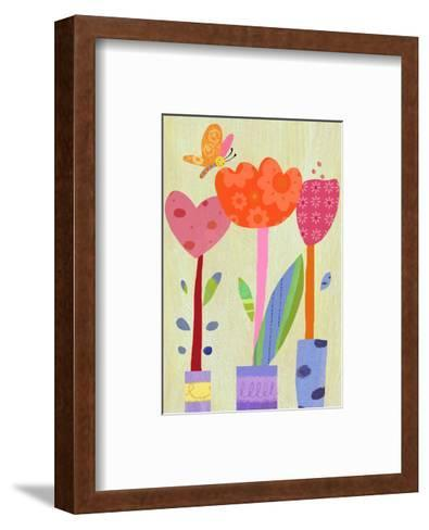 Patterned Tulips with Butterfly--Framed Art Print