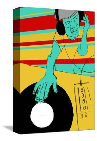 DJ Spinning--Stretched Canvas Print