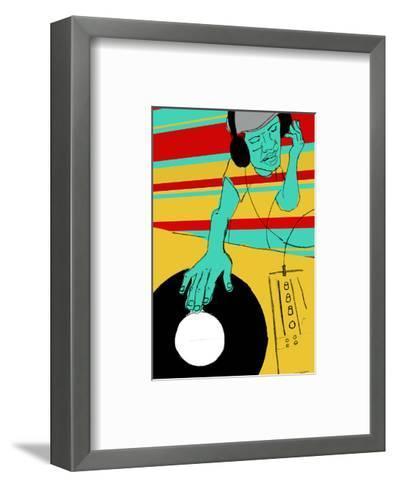 DJ Spinning--Framed Art Print