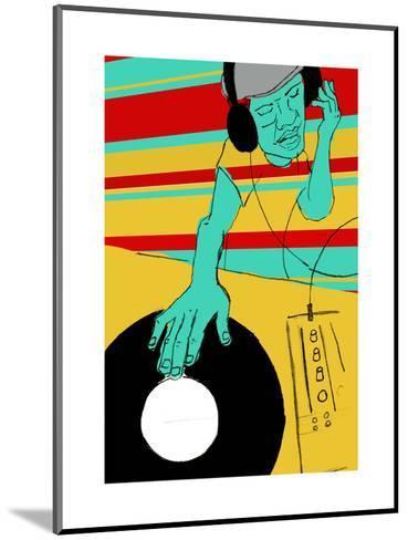 DJ Spinning--Mounted Art Print