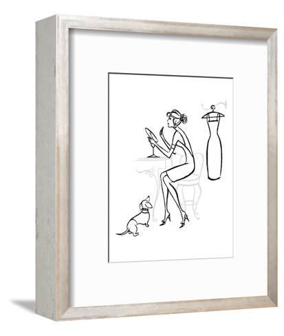 Woman at Makeup Mirror--Framed Art Print