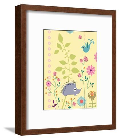Cute Porcupine and Bird--Framed Art Print