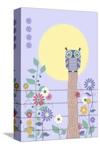 Owl on Fence and Moon with Flowers--Stretched Canvas Print