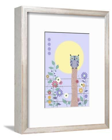 Owl on Fence and Moon with Flowers--Framed Art Print