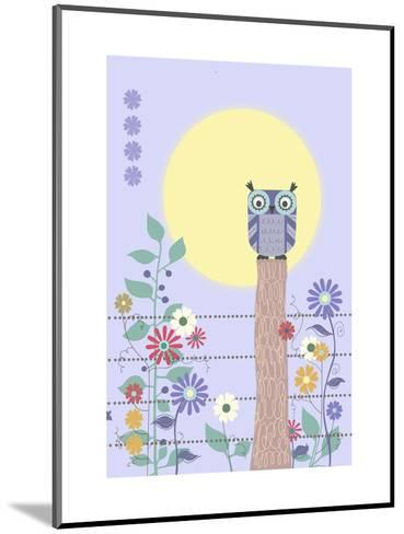 Owl on Fence and Moon with Flowers--Mounted Art Print