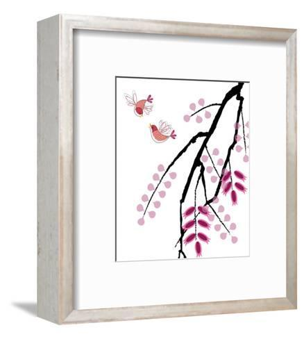 Red Birds with Abstract Tree--Framed Art Print