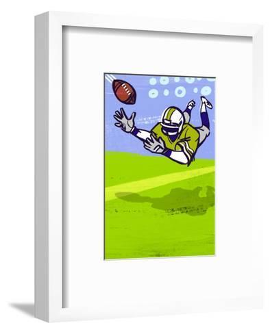 Diving to Catch Football--Framed Art Print