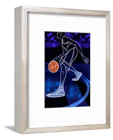 Basketball Player on Blue--Framed Art Print