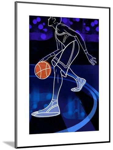 Basketball Player on Blue--Mounted Art Print