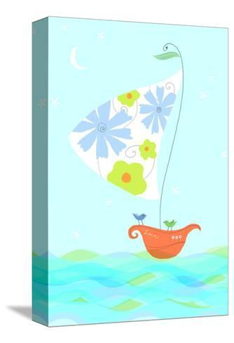 Bird in Sailboat--Stretched Canvas Print