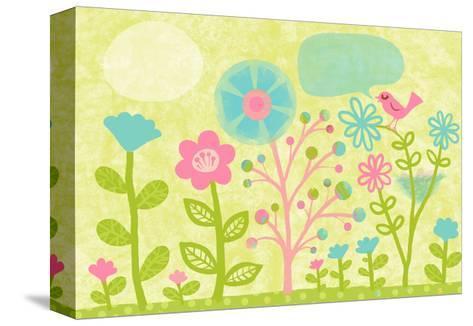 Pink Bird in Garden--Stretched Canvas Print