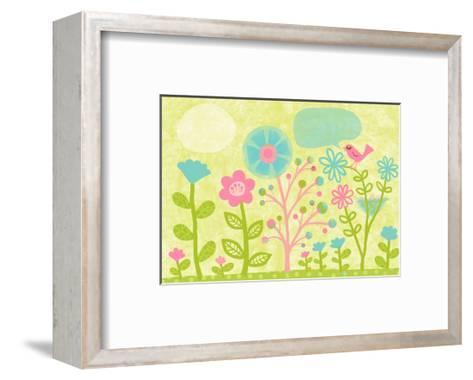 Pink Bird in Garden--Framed Art Print
