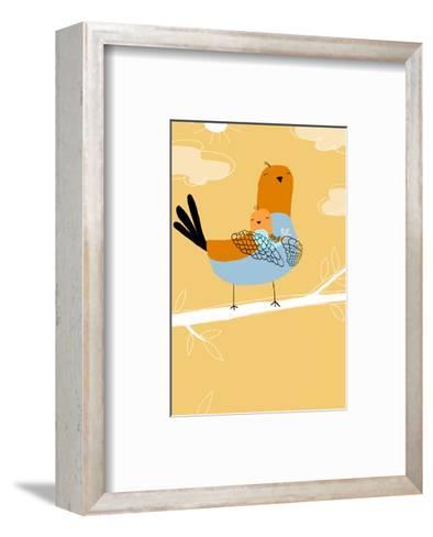 Pigeon Bird Family--Framed Art Print