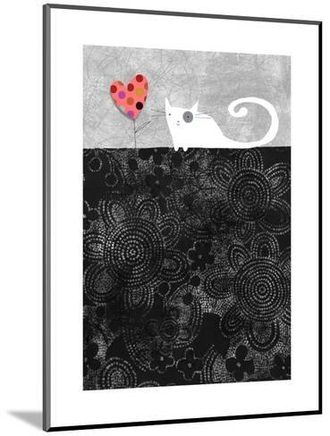 Cat with Heart Flower--Mounted Art Print