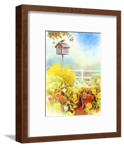 Birdhouse and Bunny in Garden--Framed Art Print