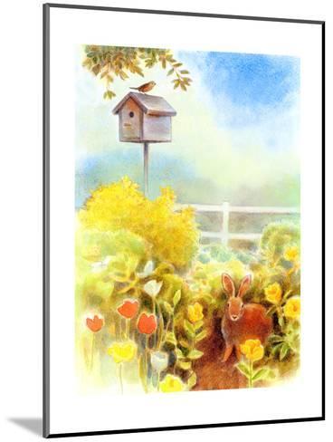 Birdhouse and Bunny in Garden--Mounted Art Print