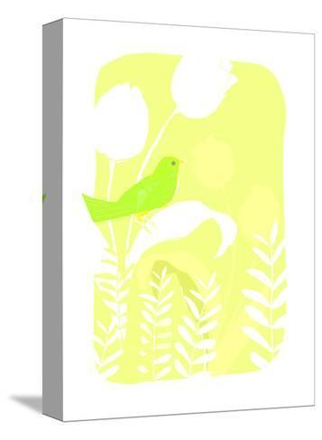 Green Bird on Plant--Stretched Canvas Print