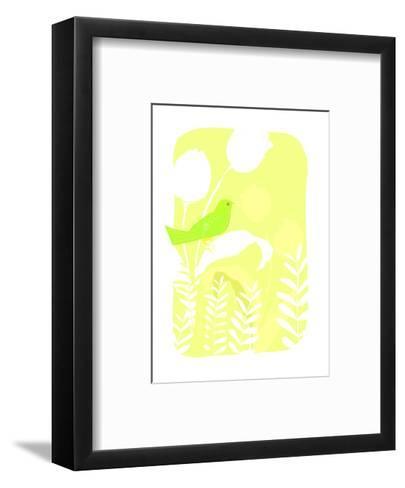 Green Bird on Plant--Framed Art Print