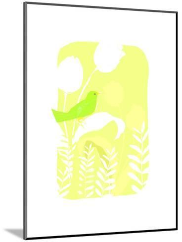 Green Bird on Plant--Mounted Art Print