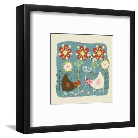 Brown and White Hens--Framed Art Print