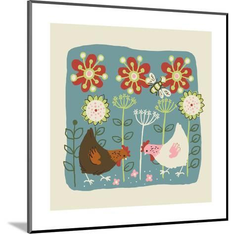 Brown and White Hens--Mounted Art Print