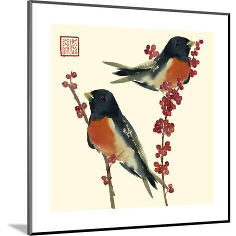 Birds on Branches Staring off--Mounted Art Print