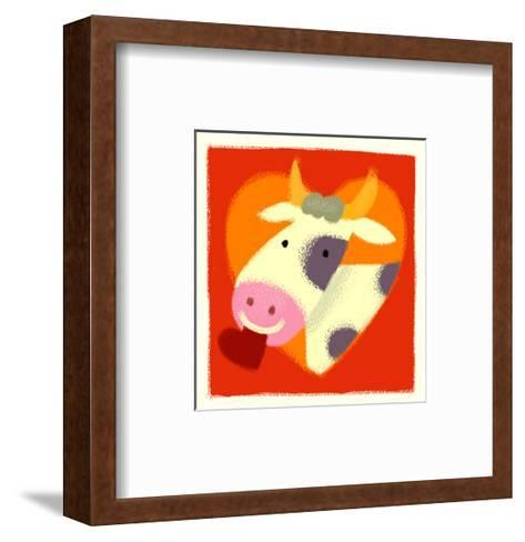 Cow with Heart--Framed Art Print