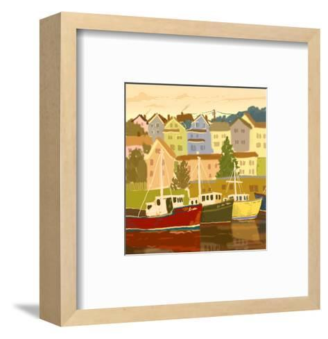Close Up of Boats and Houses--Framed Art Print