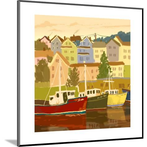 Close Up of Boats and Houses--Mounted Art Print