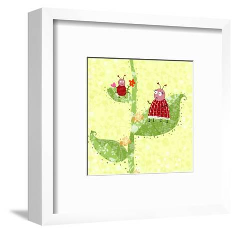 Two Ladybugs Perched on a Plant--Framed Art Print