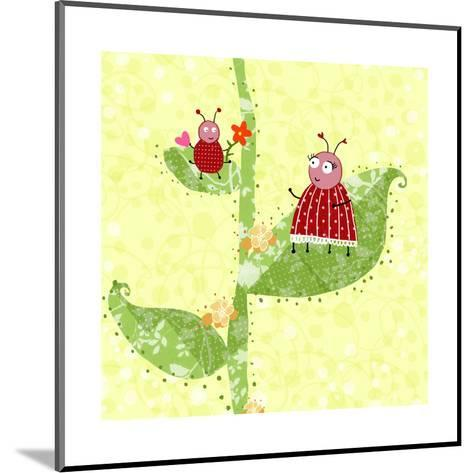 Two Ladybugs Perched on a Plant--Mounted Art Print
